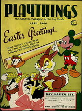 1946 PAPER AD Easter Greetings Walt Disney Donald Duck Mickey Mouse Cover Pluto