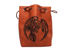 Brown Leather Lite Raven Design Self-Standing Large Dice Bag