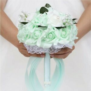 Wedding Bouquets for Brides or Bridesmaids Crystal Silk Roses Bridal Mint Green