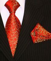 Binder de Luxe Designer Krawatte Einstecktuch Krawatten Set Tie 398 rot