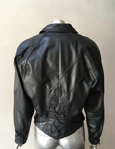 Motorcycle Real Leather Vintage 90s Retro Zip Up Black Insulates Jacket Coat Xs