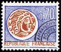 "FRANCE PREOBLITERE TIMBRE STAMP N°129 "" MONNAIE GAULOISE 70c "" NEUF x TB"