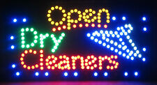 """DRY CLEANERS OPEN LED SIGN FOUR COLOR LAUNDRY COIN-OP  23"""" x 13"""" INDOOR USE"""