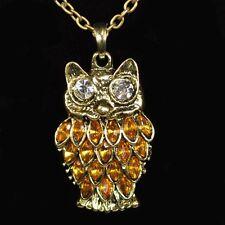 Halskette Eule Strass /WEIß Eulenkette Uhu Kauz lange Kette Owl Necklace NEU