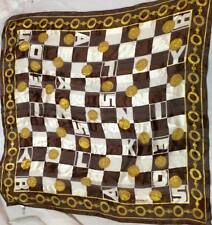SONIA RYKIEL Foulards silk square large SCARF brown white gold print