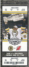 2011 BOSTON BRUINS VS NEW JERSEY DEVILS FULL TICKET STUB 11/15/11