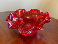 LARGE Vintage Art Red Glass Ruffled Edge Clear Underside Serving Fruit BOWL