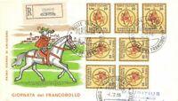 FDC - Italia - 1966 - Giornata del francobollo  - raccomandata + timbro arrivo