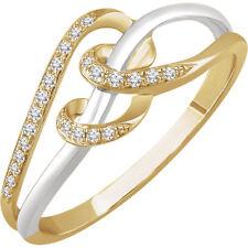 14K White & Yellow 1/10 CTW Diamond Negative Space Ring Sz 6 7 8 9 10 & 1/4 Size