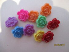 10 x 18mm Raised 3D Flower Buttons Resin Mixed Colours C142