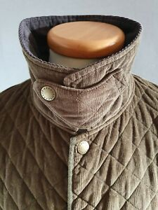 BARBOUR BANT KHAKI GREEN QUILTED CORDUROY HUNTING SHOOTING FISHING JACKET SIZE L