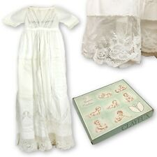 Vintage Clayeux Baby Girl Baptism Dress Embroidered Christening Lace Gown First