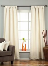 Cream Tab Top Matka Raw Silk Curtain / Drape / Panel - Piece