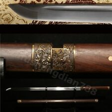 FULL TANG ROSEWOOD SAYA HANDMADE JAPANESE SWORD FLOWER CARVING ACCESORRIES