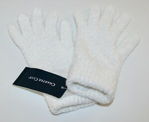 Charter Club Ivory Solid Chenille Gloves S/M