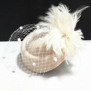 Feather Wool Women's Wedding Party Veil Hat Prom Evening Girls' Formal Cap New