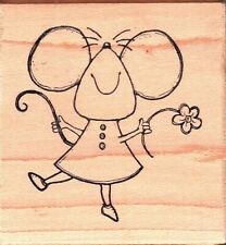 Great Impressions ~ HAPPY MOUSY ~ Wood Mounted Rubber Stamp Animals Cute