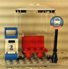 Lego TOWN/VILLAGE City Square center TRAM STATION BUS STOP post box CUSTOM