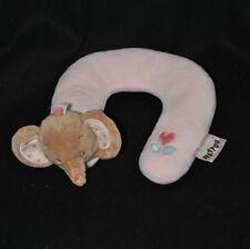 Peluche doudou appui cale tête bébé NATTOU repose nuque éléphant rose NEUF