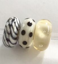 authentic trollbeads  Set of 3 Glass Beads