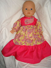"""Fatto a mano rosa Corpetto Paisley Pattern Abito Baby Annabell. Fit 16""""/18"""" doll"""