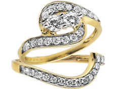 14K Yellow Gold Forever Us 2 Stone Real Diamond Engagement Bridal Ring Set 1ct