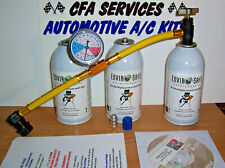 R12 COMPATIBLE A/C REFRIGERANT /1994 & OLDER 3 CAN RECHARGE REFILL KIT + DVD