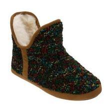 Women's Dearfoams Confetti Knit Bootie Slipper Black Size Small 5-6