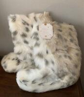NEW Pottery Barn Teen MEDIUM Faux Fur Booties SNOW LEOPARD Size 5-6