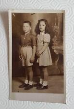 FOTO CARTOLINA D'EPOCA -  FRATELLO E SORELLA 1942