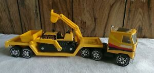 Vintage Buddy L Yellow Semi Truck with Yellow Low Boy Trailer and Backhoe 1980