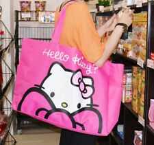 Hello Kitty Pink/black Canvas shoulder big size travel Bag Mother Shopping bag