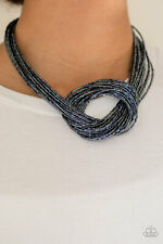 Paparazzi jewelry knotted metallic blue seed beads Necklace w/earring