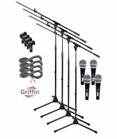 Microphone Boom Arm Stand 4 Pack Holder XLR Cable Cardioid Dynamic Mic Clip