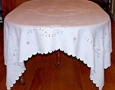 STUNNING VINTAGE WHITEWORK MADEIRA EMBROIDERED TABLECLOTH, BUTTERFLY MOTIF, 1920
