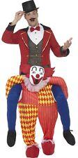Uomo Passo Ride On Pagliaccio Del Circo Halloween Paura Costume Vestito