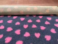 VET BED  NON-SLIP  GREY WITH PINK HEARTS 5mt 1.52M NEW IN STOCK