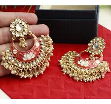 Indian Meenakari Pearl Gold Plated Chand Bali Jhumka Jhumki Earring Fashion Set