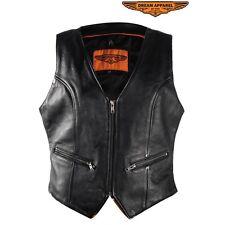 Womens Split Cowhide Biker Leather Vest With Gun Pocket and Back Hip Laces