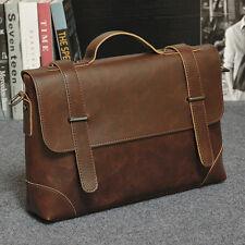 Mens Vintage Synthetic leather Briefcase Shoulder Messenger School Bag Satchel