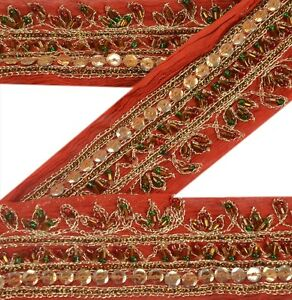 Sanskriti Vintage Drak Red Saree Border Hand Beaded Craft Trims Ribbon Deco Lace