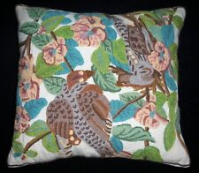 "Vintage Crawford Wool Crewel 15"" Throw Pillow Doves on Pink Blue Floral Branches"