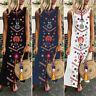 Belle Femme Floral Col V Sans Manceh Party Club dress Plage Jupe Robe Maxi Plus