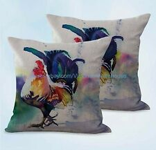 US SELLER, 2pcs cute decorative farmhouse animal rooster chicken cushion cover
