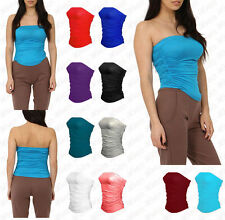 Patternless Bandeau Party Stretch Tops & Shirts for Women