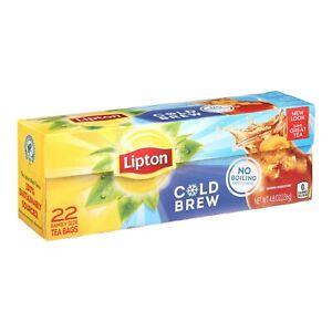 Lipton Iced Tea Bags Family Size Cold Brew No Boiling Black tea, 22 ct