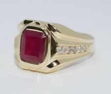 Men's 14k Yellow Gold Emerald Cut Red Ruby And White Round Diamond Ring Size 9