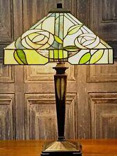 Grande Tiffany Lampada da tavolo quadrato SHADE HAND MADE tradizionali in vetro