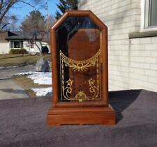 Seth Thomas City Series Cabinet Walnut Clock Case Shelf Mantle Painted Glass