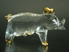 Glass PIG Farm Yard Animal PIGLET PIGGY Glass Ornament Gold Glass Animal Gift